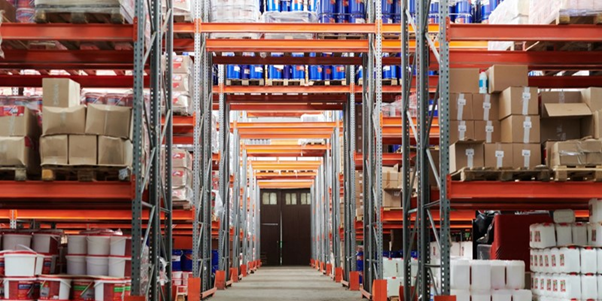 industrial shelving and racking in a warehouse space